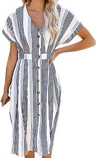 Women's Summer Dresses, Floral Boho Skater Dress Button Down Swing Midi Beach Dress V Neck Casual Maxi Dress