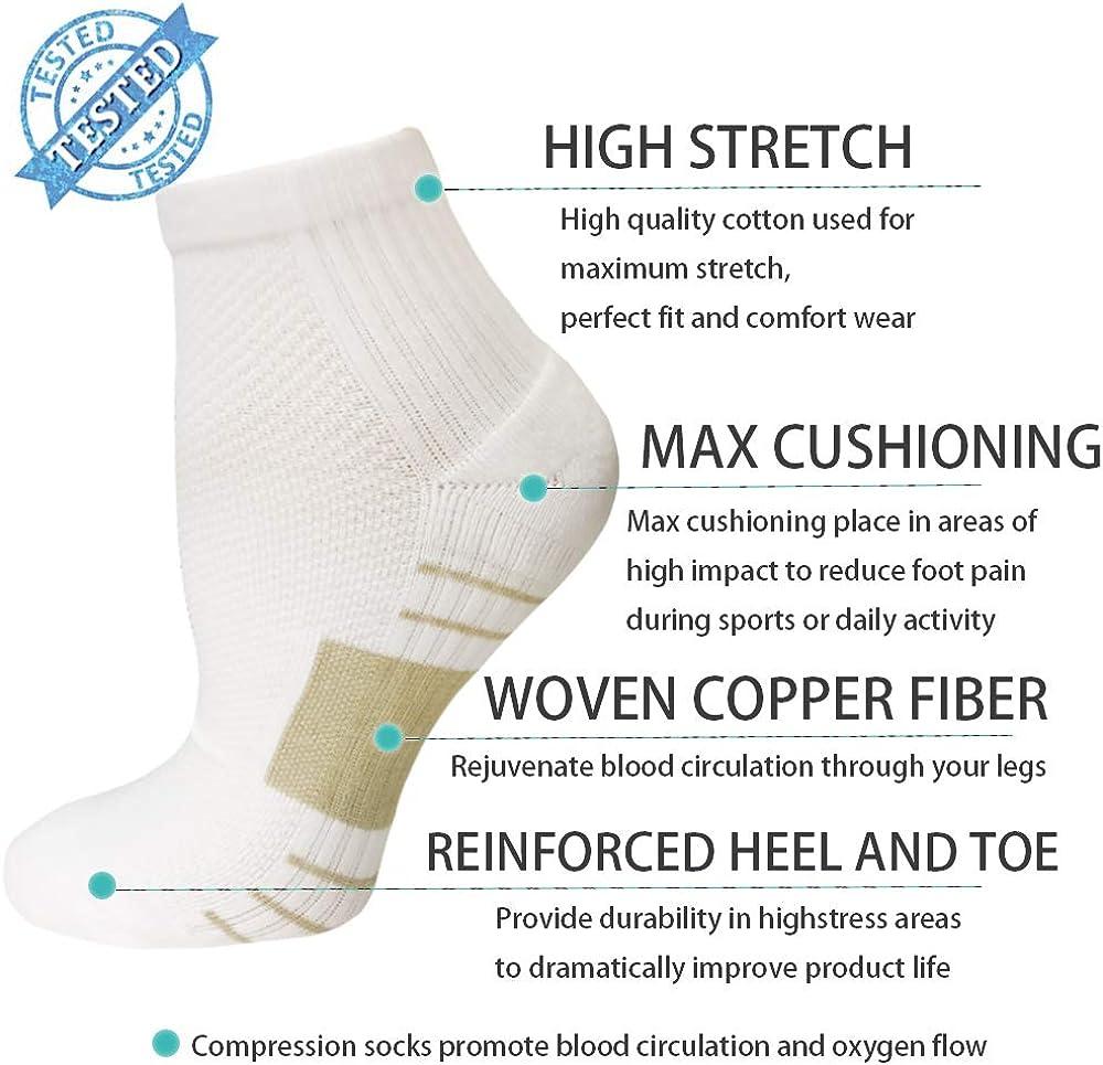 Best for Plantar Fasciitis,Athletic,Support,Flight Travel,Nurses,Hiking Copper Compression Socks Circulation for Women Men