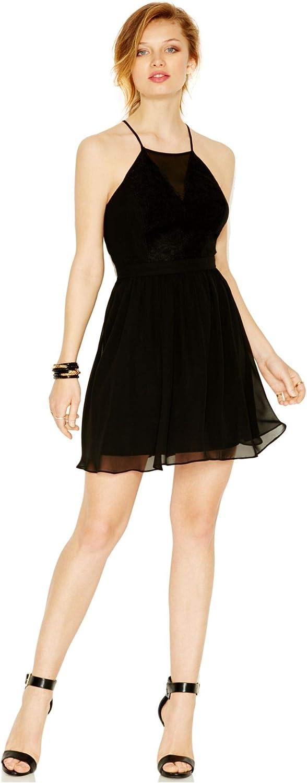 BCBGeneration Lace Inset Cutout Chiffon Dress Black Size 10