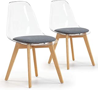 VS Venta-stock Set de 2 sillas Comedor Bruno Transparentes con cojín en el Asiento, certificada por la SGS, 54 cm (Ancho) x 49 cm (Profundo) x 84 cm (Alto)