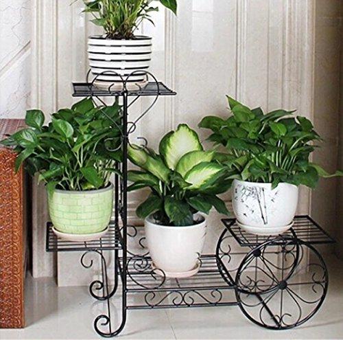 ILQ Pots de fleurs d'intérieur de plusieurs étages Pots de fleurs de radis vert radiés,70 * 76cm,Noir
