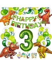 Dino barnens födelsedagsdekoration, födelsedagsdekoration 3 år pojkar, dinosaurier födelsedagsdekorationer, folieballong nummerballong 3, ballonger grön för dinosaurie party dekoration djungel party barn