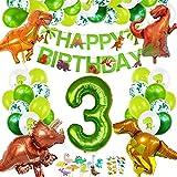 Decoracion Cumpleaños Dinosaurios, Globos de Cumpleaños Dinosaurios, Globo Numero 3 Verde, Globos Dinosaurios, Globos Grandes Gigantes Helio, Globos de Cumpleaños 3 Años
