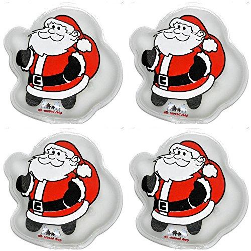 4pezzi SCALDAMANI Santa Design, heizpad Firebag-Finger scaldamani, Cuscino termico, heizpad Babbo Natale di tutto il around24