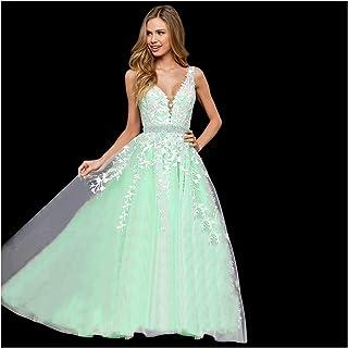 0b5e981691b Abaowedding Women s Wedding Dress for Bride Lace Applique Evening Dress V  Neck Straps Ball Gowns