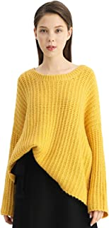 LDXIEA Women's Casual Crew Neck Knit Sweater Mohair Bat Sleeve Loose Pullover