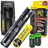 EdisonBright NITECORE P12 1000 Lumens CREE LED Tactical Flashlight w/Niteocre UM10 USB Charger, Nitecore NL186 2600mAh Rechargeable 18650 Battery and 2 X CR123A Lithium Batteries Bundle