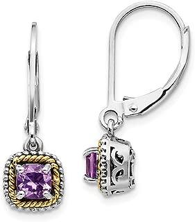 925 Sterling Silver 14k Purple Amethyst Leverback Earrings Lever Back Drop Dangle Fine Jewelry Gifts For Women For Her