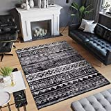 Alfombras Salon Grandes Alfombra Salón Pelo Corto Diseño Moderno Alfombra Vintage Style para Comedor Pasillo y Habitación(Blanco Negro, 120*160cm)