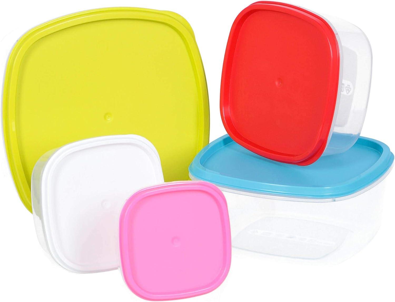 Plastic Forte PF - Recipientes para Alimentos - Fiambreras - Set de 5 - Made in Spain