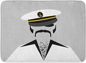 Doormats Bath Rugs Outdoor/Indoor Door Mat Navy Captain Cool Sailor Hairy Chest Hair Boat Disco Ship Black Bathroom Decor ...