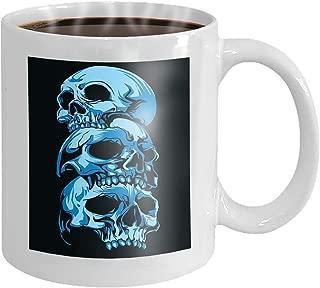 Coffee cup mug horror three head skull dark blue background eating each other 11oz