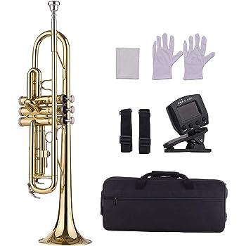 Muslady Trompeta de Latón Bb Estándar Instrumento de Viento con Boquilla Bolsa Guantes Paño de limpieza Sintonizador