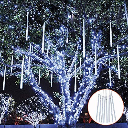 TOPIST Falling Rain Decoration Lights, Waterproof LED Meteor Shower Lights, 30cm 8 Tube 144 LED Icicle Snow Fall String...