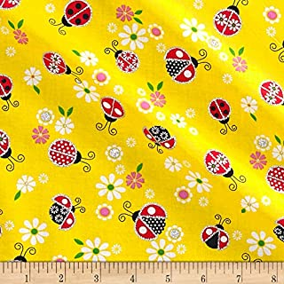 Fabric Traditions Glitter Lady Bugs Yellow Fabric by The Yard,