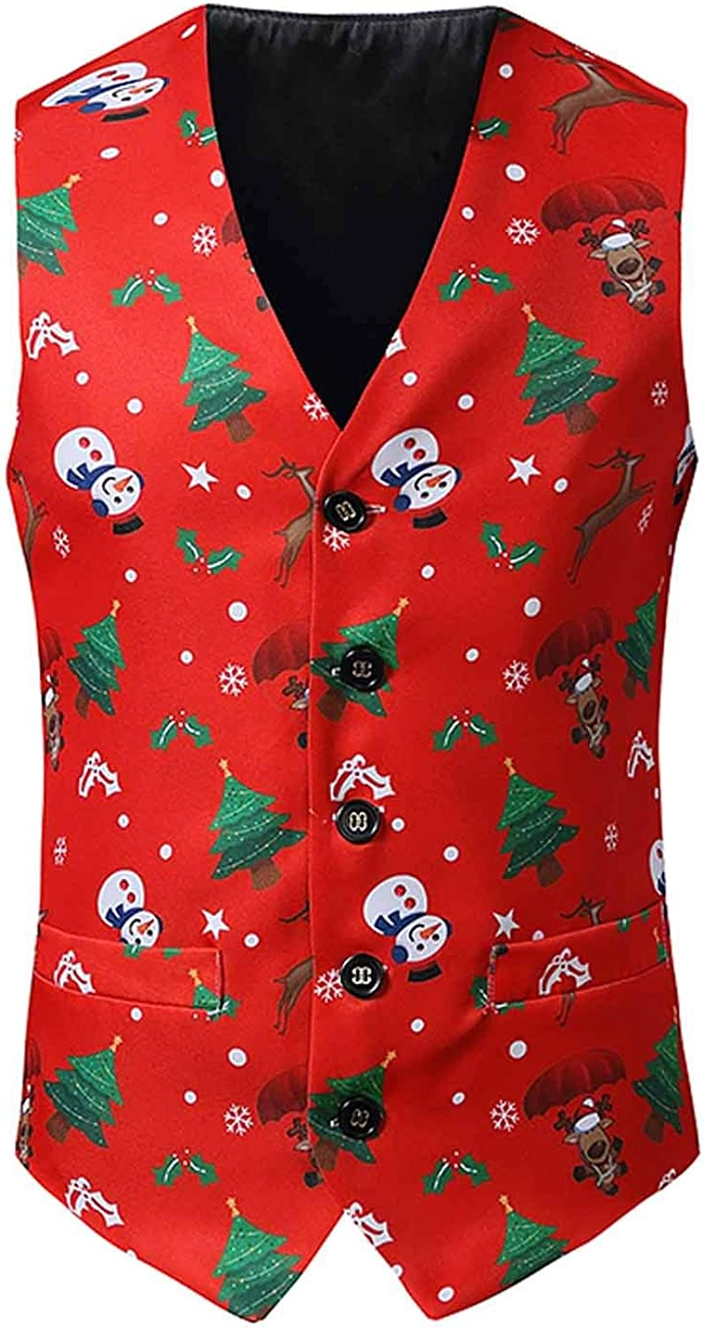 NREALY Mens Christmas Fancy Vest Vintage Button Up Party Sleeveless Jacket