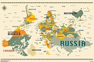 World Map Upside Down by Jazzberry Blue Art Print Poster 36x24 Inch