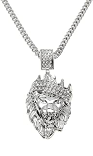 Men's 18k Gold Plated CZ Fully Iced Out Rhinestone Crown Lion Egyptian Life Key Cuban Chain Pendant