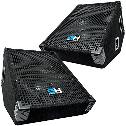 Grindhouse Speakers - GH12M-Pair - Pair of 12 Inch Passive Wedge Floor / Stage Monitors 350 Watts RMS each - PA/DJ Stage, Studio, Live Sound 10 Inch Monitor