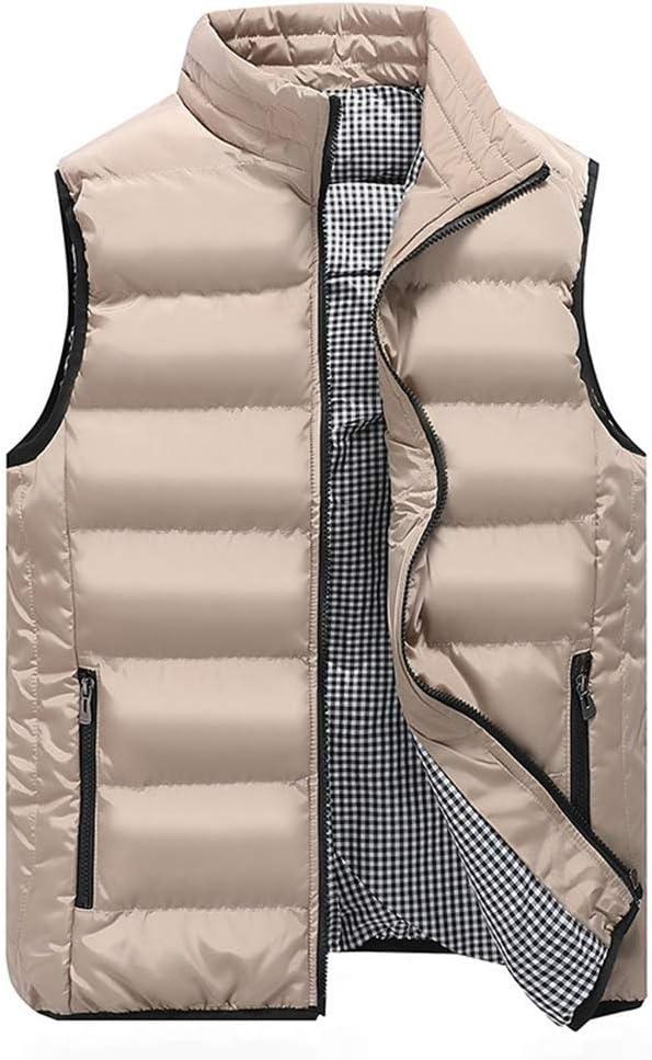 LGQ-HW Men's Lightweight Sleeveless Jacket Gilet Body Warmer Vest Winter Casual Slim Coats Clothing Cotton-Padded Men Waistcoat Big Size (Color : Khaki, Size : XXX-Large)