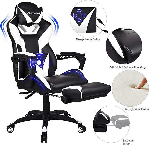 FULLWATT Lumber Massage Gaming Chair With Footrest Ergonomic High Back Pu Leather Bucket Seat Racing Gamer Chair Video Game Chairs 150 Degree Adjustable Swivel Executive Computer Gaming Chairs White