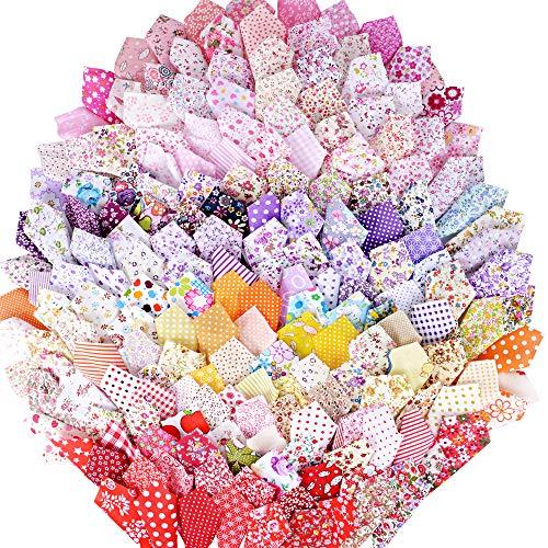 MEJOSER (100{5849221cf14c40ba8d0c0ba62c7126450a2b36472a566e3b203f85cee9e15855} Baumwolle) 200 Stück Patchwork Stoffe Paket 10 x 10 cm Bunte Baumwollstoff Set Stoffpaket DIY Baumwolltuch Stoffreste Paket Stoffpakete in zufälligen Muster und Farbe
