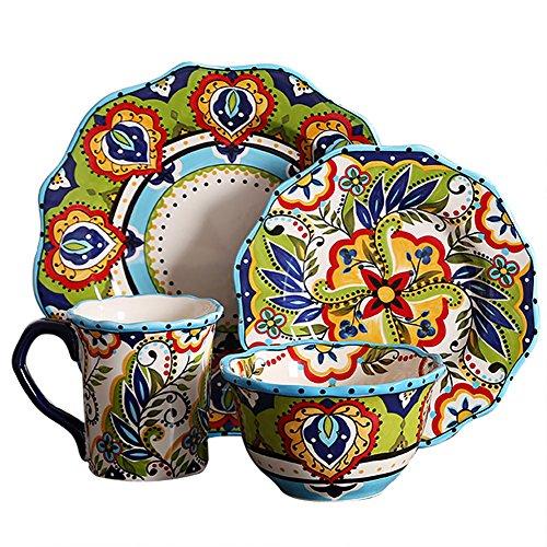 Queen-KS Juego de vajilla de 16 piezas mexicana multicolor hecho a mano de cerámica con revestimiento de porcelana...