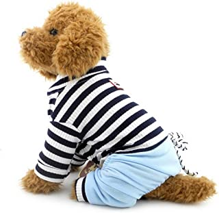 SELMAI Jumpsuit for Small Dog with Denim Pants Puppy Stripe Shirt Pet Doggie Chihuahua Poodle Shih Tzu Outfits Clothes Apparel