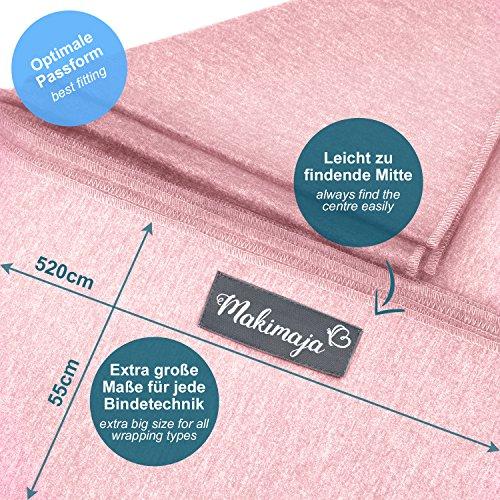 Babytragetuch aus 100% Baumwolle – Rosa – hochwertiges Baby-Tragetuch für Neugeborene und Babys bis 15 kg – inkl. Aufbewahrungsbeutel und GRATIS Baby-Lätzchen – liebevolles Design von Makimaja® - 5