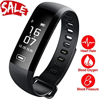 Smart Watch, Fitness Tracker, READ R5.MAX Heart Rate Monitor Blood Pressure Bracelet Pedometer Activity Tracker Sleep Monitoring Call SMS SNS Remind Watch for Android iOS (Black)