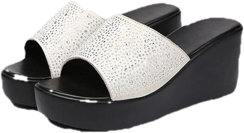 Woman Wedges Sandal Fashion Rhinestone Comfy Peep Toe Anti Slip Lightweight Platform Slide Slippers for Banquet