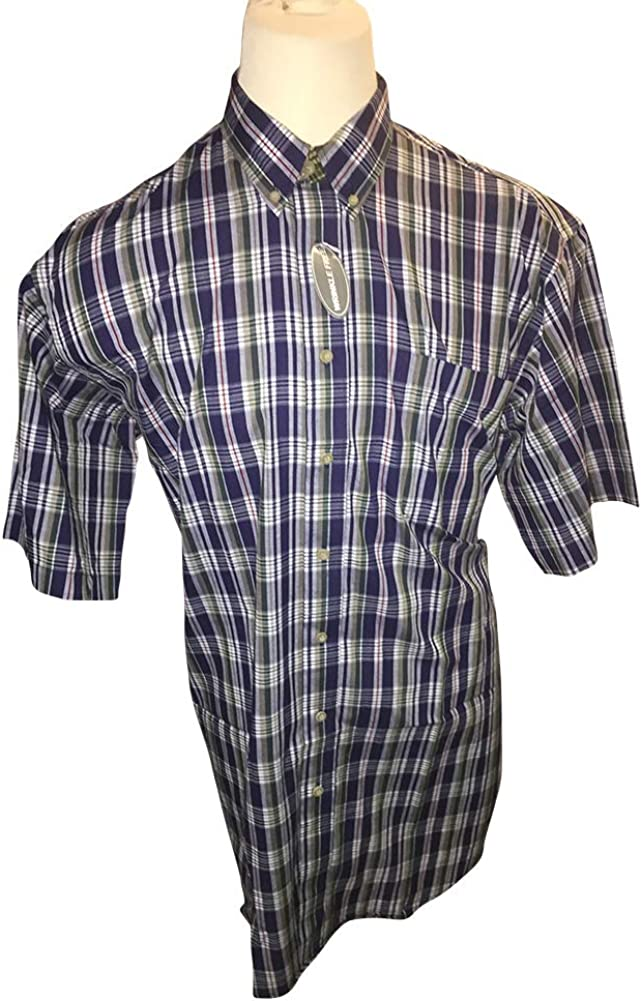 Tall Man's XLT Navy Combo Wrinkle Free Plaid Shirt XL-Tall