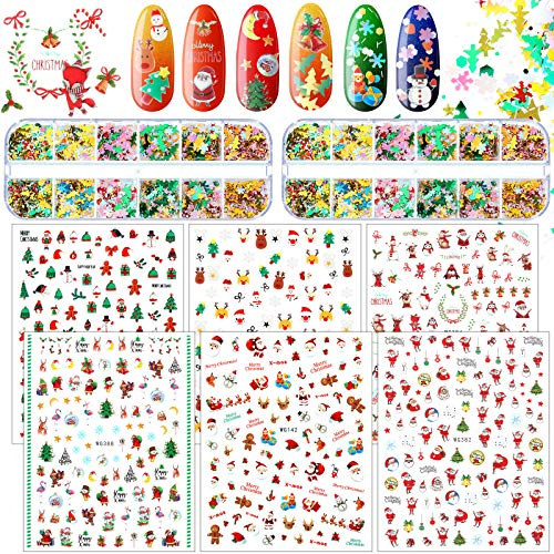 1000 Pieces Christmas Nail Art Sticker and 24 Grids Christmas Nail Sequin, Snowflake Snowmen Reindeer Nail Decal and 3D Snowflake Nail Glitter Sequin for Women Girls Christmas Nail Art