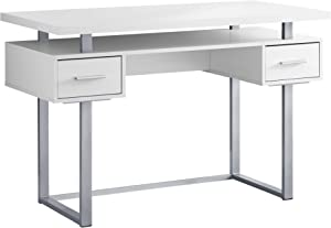 """Monarch Specialties I 7383 Computer Desk with Drawers-Contemporary Style-Home & Office Laptop Table with Metal Legs, 48"""" L, White"""