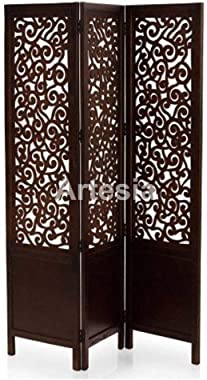 Artesia Handcrafted 3 Panel Premium Quality Wooden Room Partition/Wooden Room Divider/Wooden Screen