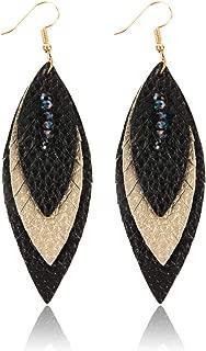 Bohemian Genuine Suede Real Leather Geometric Drop Earrings - Lightweight Hook Dangles Feather, Leaf, Multi Color Fringe, Triple Tassel