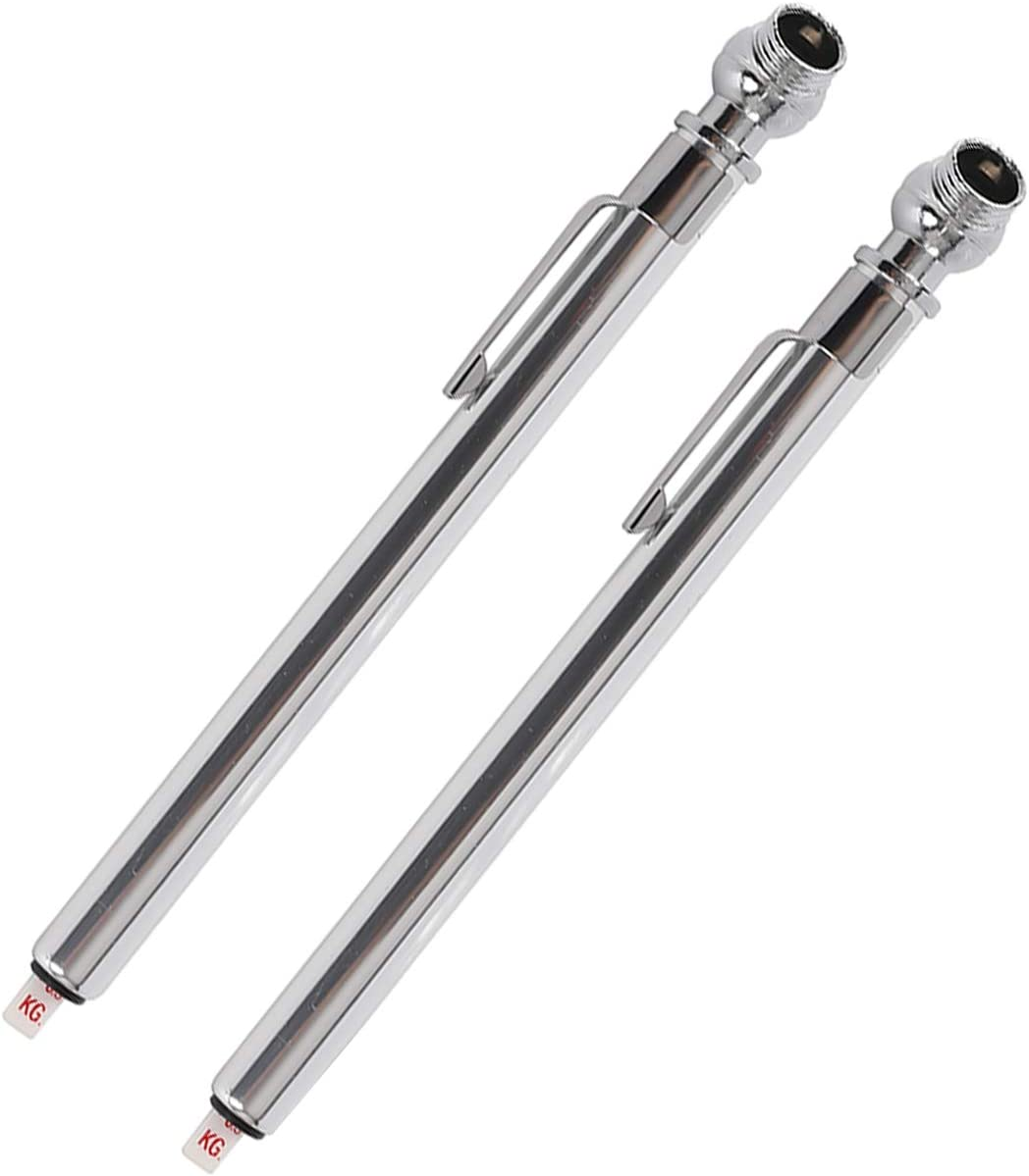 GODESON Pencil Tire Pressure Gauge Silver Analog Tire Pressure Gauge for Car Vehicle Truck Bicycle Single Zinc Alloy Chuck Air Pressure Gauge (10-50PSI) Pack of 2