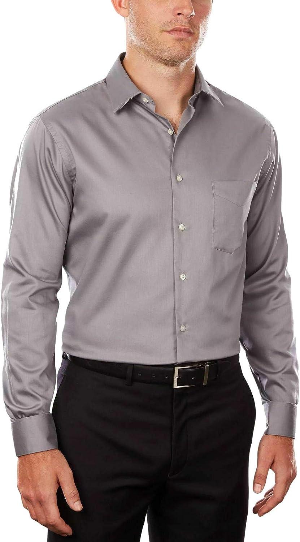 Van Heusen Men's Classic/Regular Fit Lux Sateen Solid Dress Shirt Gray 15 x 32/33