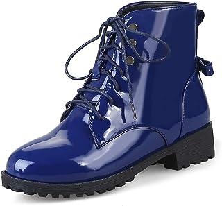 8fccda53e6 GDXH Nuevos ZapatosMujeres Botines de Cuero de Cabeza Redonda de Encaje  Zapatos cómodos Antideslizante Martin Botas