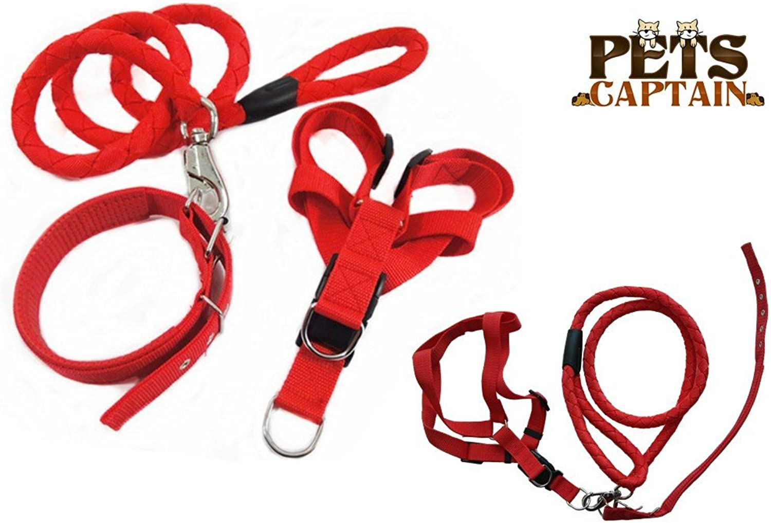 PetsCaptain Pet Leash,Harness,and Collar Bundle Set for Medium Dogs and Cats, Red, Medium, OWL3REDM