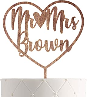 Personalized Bride and Groom Wedding Cake Topper With Customized Last Name for Mr Mrs (Walnut)