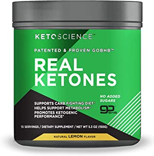 Keto Science Real Ketones Powder Dietary Supplement, Sugar-Free Lemon Drink Mix, Supports Carb-Fighting Diet and Weight Lo...