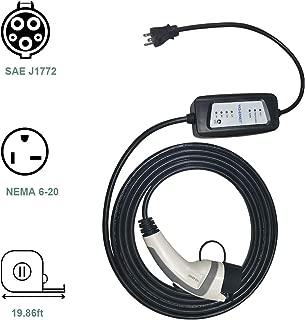 yks-sense Portable Electric Vehicle(EV) Charger Level 2, 6-16Amp Plug in EV Charger, 240V, SAE J1772 (Type1), NEMA6-20plug & NEMA 5-15 Plug Adapter
