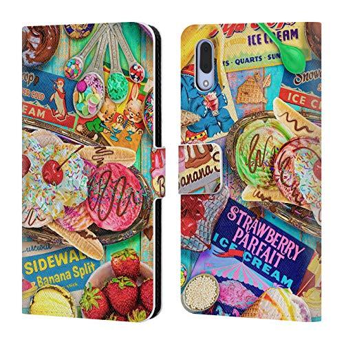 Officiële Aimee Stewart Banaan Split Kleurrijke snoepjes Lederen Book Portemonnee Cover Compatibel voor Sony Xperia L3