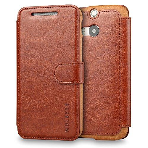 Mulbess Layered Dandy Handyhülle für HTC One M8 Hülle Leder, HTC One M8 Klapphülle, HTC One M8 Handy Hülle, Schutzhülle für HTC One M8 Tasche, Braun