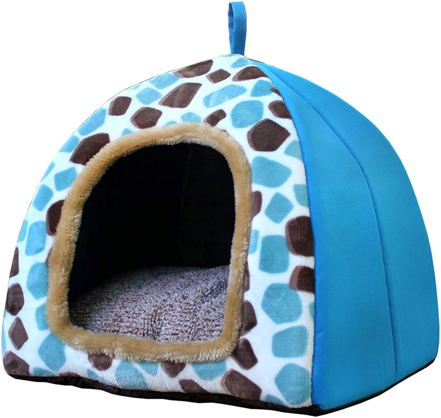Pet house kennel Medium dog Small dog Closed type Washable pet nest Pet bed Pet mat Soft comfortable Keep warm Four seasons available (color   A, Size   43  43  43)