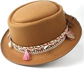 2019 Mens Womens Hats Unisex Men Women Flat Top Hat Feather Soft Pork Pie Hat Trilby Hat Panama Jazz Hat Pork Pie Hat with Tassel Belt Trilby Hat Porkpie Casual Wild Hat