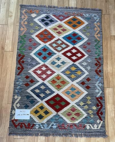 Alfombra oriental afgana hecha a mano Kilim de lana de colores naturales afganos turcos nómada persa tradicional persa 100 x 145 cm vintage corredor pasillo escalera reversible