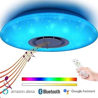 WIFI Plafón LED Luz Lámpara de Techo con Altavoz Bluetooth,Control de Voz y Control Remoto de APP, 36W RGB Color Plafón de Techo, Compatible con Alexa y Google Assistant 40CM (WIFI Plafón)