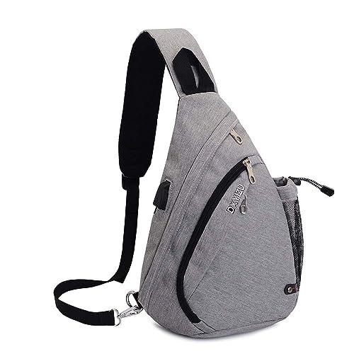 SINOKAL Sling Bag Chest Shoulder Backpack Casual Crossbody Shoulder Triangle Packs Daypacks for Men Women Canvas Digital Camera Bags with Charging Port for Sport Outdoor Gym Travel Hiking